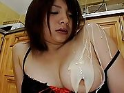 Nasty Asian doll is the first guest at a bukkake and is covered in gooey cum