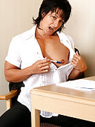 Horny MILF Cory may strip and additionally play and still can the lady workplace chores