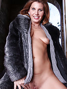 39 year old redhead Sky Rodgers performances up wearing nothing but mink