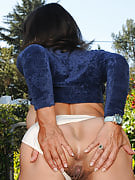 Hairy pussied MILF Persia after 30 plus Ladies spreads ass inside the garden