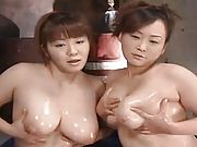 Miku Shiraishi Asian schoolgirls play with one cock and their big tits