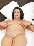Busty and big Abigaile from 30 plus Ladies probing at just her adult vagina
