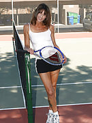 Mature and additionally athletic Rose works her pussy out as soon as playing the game of tennis
