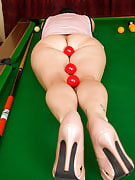 39 year old brunette Amber L has the bunch of fun on the pool table