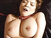 Aki Tomosaki Asian chick tied up and getting a big dildo in her anus