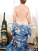All hairy and natural MILF Ember has fun with housework