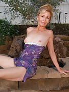 55 yr old gorgeous grandma spreads wide through the park bench