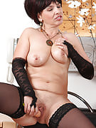 Elegant and adult Juliette quality this girl older pussy along with hard synthetic