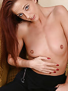 Refined 32 year past times very long haired MILF fingertips this girl inflamed pussy