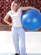 32 spring old blonde MILF Chance gets down and dirty with a pilates ball